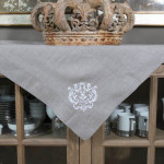 "Crown Linen Taupe Table Topper with ""Damask"" Embroidery"