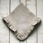 """Crown Linen Ruffled Napkin Set with """"Royal"""" Embroidery - Flax Linen"""