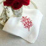 """Crown Linen Napkin Set with Red """"Royal"""" Embroidery - White Linen"""