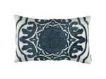Lili Alessandra Barcelona Sm. Rectangle Pillow - Ivory Basketweave / Midnight Velvet Applique