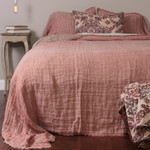 Amity Home Kent Linen Bedspread - Pomegranate/Natural