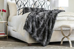 Lili Alessandra Black Fur Throw