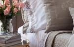 Lili Alessandra Mozart Pillowcase Pair - White / Dark Champange