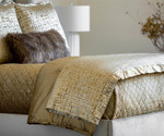 Lili Alessandra Jolie Quilted Throw - Straw Velvet / Gold Print