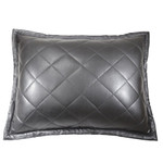 Ann Gish Faux Leather Pillow - Black
