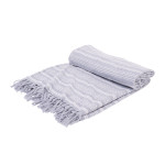 Elisabeth York Chenille Stripe Bed Throw - Fog