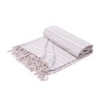 Elisabeth York Chenille Stripe Bed Throw - Natural