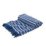 Elisabeth York Chenille Stripe Bed Throw - Ink