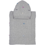 Darzzi Bubble Baby Blanket with Beanie - Vanilla Gray Melange