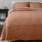 Amity Home Kent Linen Bedspread - Tangerine/Natural