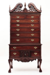 Laurel Crown Chippendale Highboy Dresser