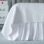 Lili Alessandra Battersea Gathered Bedskirt - White Cotton