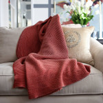 Orchids Lux Home Titan Denim Throw - Red Coral