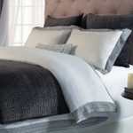 Orchids Lux Home Parker Duvet Cover-  White/Fog