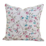 Orchids Lux Home Bouquet Floral Embroidery Square Pillow - Pink