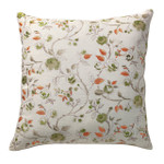 Orchids Lux Home Bouquet Floral Embroidery Square Pillow - Green