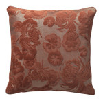 Orchids Lux Home Gaufre Velvet Floral Embroidery Square Pillow - Rosewood
