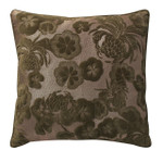 Orchids Lux Home Gaufre Velvet Floral Embroidery Square Pillow - Green