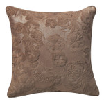 Orchids Lux Home Gaufre Velvet Floral Embroidery Square Pillow - Beige