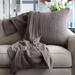 Orchids Lux Home Celestial Rib Knit Square Pillow - Slate