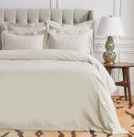Elisabeth York Hemstitch Queen Duvet Cover - Natural