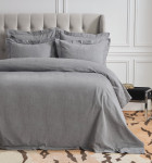 Elisabeth York Hemstitch Queen Duvet Cover - Granite
