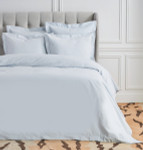 Elisabeth York Hemstitch Queen Duvet Cover - Fog