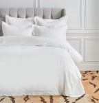 Elisabeth York Hemstitch Queen Duvet Cover - White