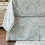 Lili Alessandra Milan Tailored Bed Skirt - Spa Faded Damask Venetian Linen