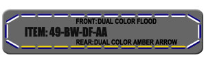 "Feniex Fusion 49"" from Lone Star Public Safety, Blue/White Dual Color Flood with Amber Arrow Strip."