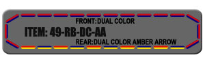 "Feniex Fusion 49"" from Lone Star Public Safety, Red/Blue Dual Color with Amber Arrow Strip."