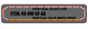 """Feniex Fusion 49"""" from Lone Star Public Safety, Red/White Dual Color Flood with Amber Rear Arrow."""