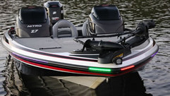 Red/Green LED Strips Mounted On Boat