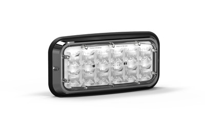 Wide LUX A-3700 3x7 Surface Mount, Perimeter LED Warning Light. Front view, with Clear Lens.