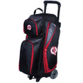 Ebonite Players 3 Ball Roller Bowling Bag - Black/Red