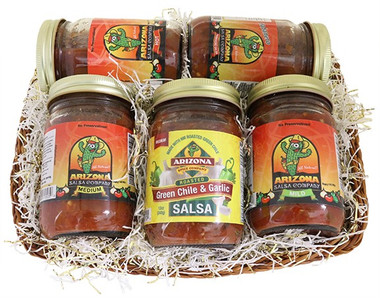 5 SALSA BASKET.  THE PERFECT GIFT FOR THE SALSA LOVER.  INCLUDES ONE OF EACH: MILD, MEDIUM, HOT, HABANERO, AND ROASTED GREEN CHILE AND GARLIC SALSA.