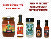 All of these items contain plenty of the great tasting ghost pepper.  Flavorful heat for all your cooking and dipping desires.