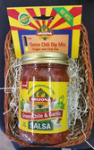 A simple but delicious gift.  Contains our award winning Roasted Green Chile and Garlic Salsa and all natural Green Chile Dip Mix.  Sure to please the green chile lover.