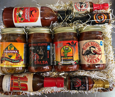 Nine of our great tasting fire and flavor products.  Heat with flavor!