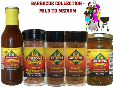 This Special Contains: Sweet 16 BBQ, BBQ Rub Salt Free, Mexican Style Rub & Seasoning, Chipotle Seasoning, Jalapeno Relish.