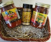 Sweet and Spicy Award Winning Peach Perfect Salsa, Magnificent Mango Salsa, and Honey Powder.  Perfect to please the sweet tooth.