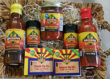 The perfect flavors of Arizona.  A mix of the mild to medium items.  Including the award winning Sweet 16 Barbecue sauce and the award winning Peach perfect Salsa.