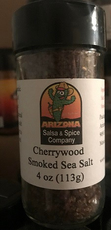 Cherrywood smoked sea salt.  Naturally infused with cherry wood smoke.  A great flavor and aromatic