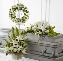 YOUR SYMPATHY- 3 PIECE CASKET/ WREATH AND FLOOR BASKET