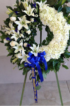 SO SORRY FOR YOUR LOSS WREATH- BLUE AND WHITE