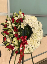 SO SORRY FOR YOUR LOSS WREATH- RED AND WHITE