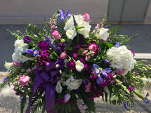 LOVING BLOOMS, PURPLE AND WHITE CASKET SPRAY- ON SALE WAS $400