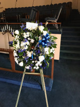 SENDING OUR LOVE WREATH- BLUE AND WHITE