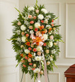 Peach, Orange and White Sympathy Standing Spray (Large)