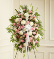 Deepest Sympathies Standing Spray-Pink & White (Medium)